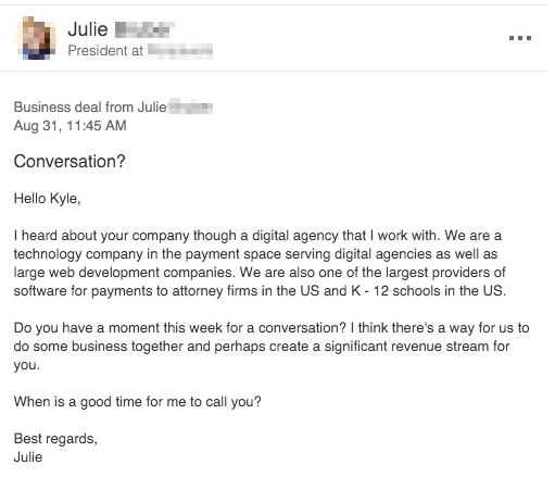 example of a cold email talking about a business deal