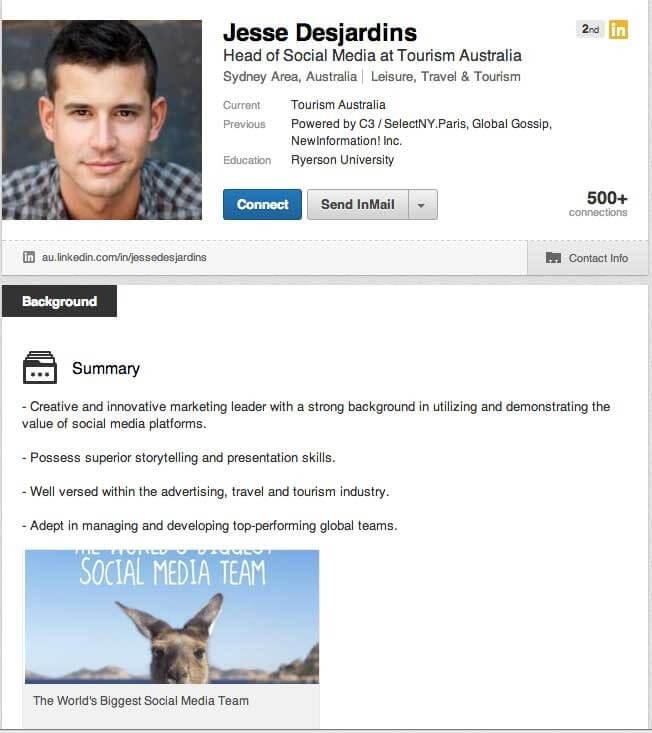 Send your portfolio in LinkedIn messages